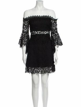 AMUR Lace Pattern Mini Dress Black Lace Pattern Mini Dress