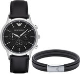 Emporio Armani Men's Chronograph Renato Black Leather Strap Watch and Bracelet Gift Set 43mm AR8034