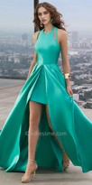 Faviana Frosted Satin Front Split Prom Dress