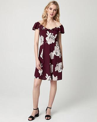 Le Château Floral Print Viscose Off-the-Shoulder Dress