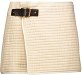 Isabel Marant Gael Leather-Trimmed Cotton-Matelassé Mini Wrap Skirt
