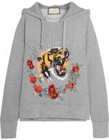 Gucci Embroidered Embellished Cotton-jersey Hooded Top - Gray