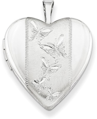 Curata 925 Sterling Silver Rhodium-plated Butterfly Design Heart Locket Pendant Necklace
