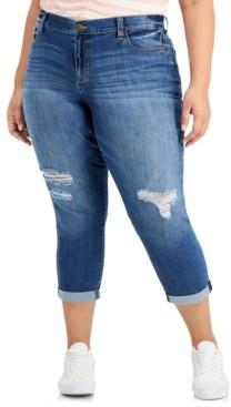 Celebrity Pink Trendy Plus Size Destructed Girlfriend Jeans