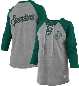 Women's Pressbox Heathered Gray/Green Michigan State Spartans Plus Size Two-Hit Lace-Up Raglan Long Sleeve T-Shirt