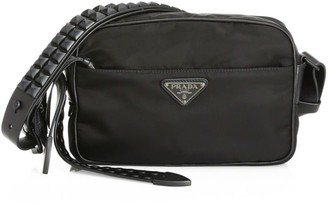 Prada Vela Nylon Studded Shoulder Bag
