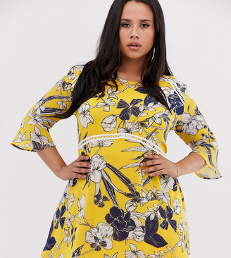 Lasula Plus mini tea dress with fluted sleeve in yellow floral print-Multi