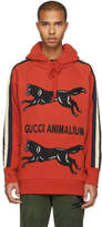 Gucci Red Animalium Double Wolves Hoodie