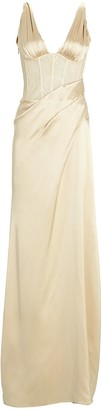 Jonathan Simkhai Maeve Draped Silk Satin Gown