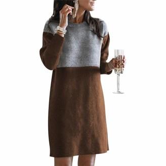 Copaul Plus Size Dress Apparel Autumn Women Casual Long Sleeve Patchwork Color Block Loose Knee-Length Autumn Dress Army Green