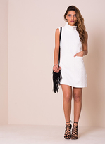 Missy Empire Serena White Cowl Neck Textured Shift Dress
