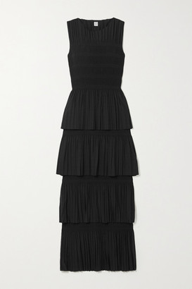 Totême Aramon Tiered Shirred Voile Maxi Dress - Black
