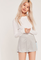 Missguided Faux Suede Tailored Shorts Grey