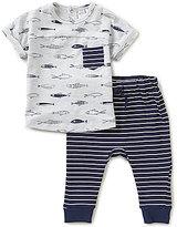 Petit Lem Baby Boys 3-24 Months Fish Print Tee & Striped Pants Set