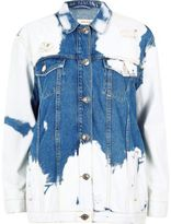 River Island Womens Mid blue cow print distressed denim jacket