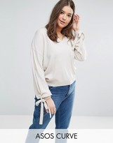 Asos Sweater with Balloon Sleeves and Tie Cuff