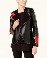 INC International Concepts Embroidered Faux-Leather Moto Cardigan, Created for Macy's