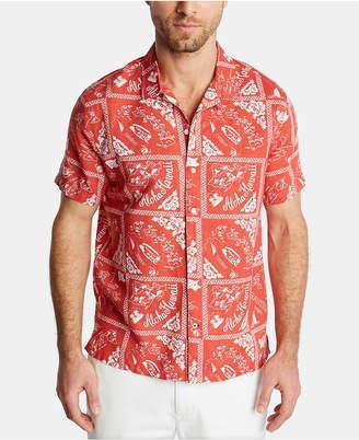 Nautica Men Blue Sail Classic Fit Island Print Camp Collar Linen Shirt