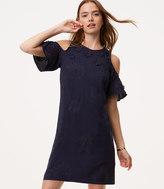 LOFT Floral Applique Cold Shoulder Dress