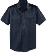 Sean John Men's Solid Twill Short-Sleeve Shirt, Created for Macy's