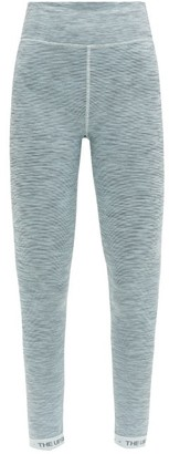The Upside Ocean Logo-jacquard Striped Jersey Leggings - Blue