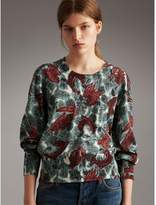 Burberry Beasts Print Cotton Sweater , Size: L, Green
