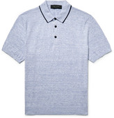 Rag & Bone Lucas Contrast-tipped Knitted Mélange Cotton Polo Shirt - Light blue