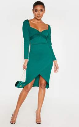 PrettyLittleThing Emerald Green Twist Front Long Sleeve Wrap Midi Dress