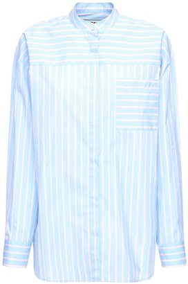 MSGM Striped Cotton Poplin Long Shirt