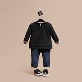 Burberry Long-sleeved Check Trim Cotton T-shirt
