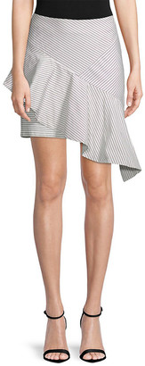 Lea & Viola Striped Asymmetric Skirt