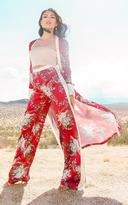 PrettyLittleThing Red Floral Satin Wide Leg Trousers
