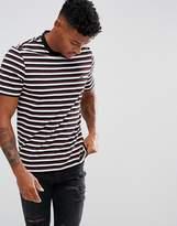Lacoste Multi-Stripe T-Shirt In Burgundy