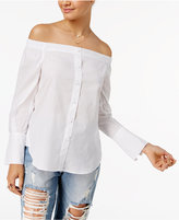 Love, Fire Juniors' Cotton Off-The-Shoulder Shirt