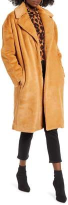 Mural Long Faux Fur Coat