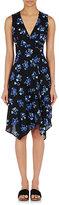Proenza Schouler Women's Falling Flowers Crepe Wrap Dress-BLUE