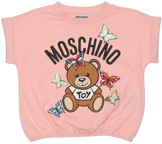 Moschino Cotton Jersey T-Shirt W/ Rubber Logo