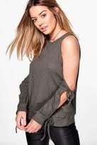 boohoo Petite Becca Cut Out Tie Sleeve Rib Top khaki