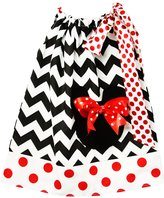 Wholesale Princess Black and White with Red Polka Dots Minnie Mouse Cotton Pillow Case Dress Fits 3-5 years