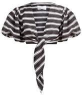 Lisa Marie Fernandez Striped Tie-front Satin Shirt - Womens - Black White