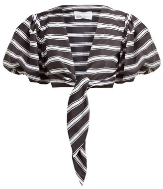 Lisa Marie Fernandez Striped Tie-front Satin Shirt - Womens - Black White