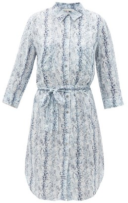 Heidi Klein Ruffled Snake-print Crepe Shirt Dress - Blue Print