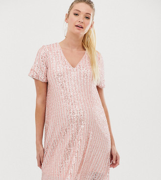 TFNC Maternity stripe sequin t-shirt dress in pink and silver
