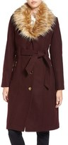 GUESS Women's Trench Coat With Faux Fur Trim