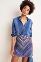 Maeve Embroidered Denim Mini Skirt