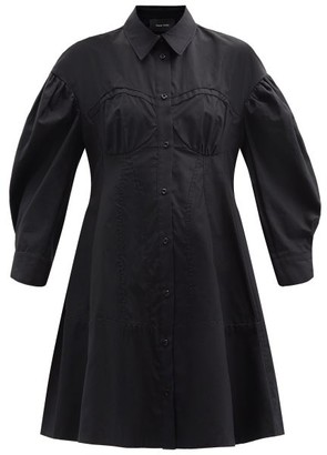 Simone Rocha Corset Cotton-poplin Shirt Dress - Black