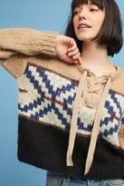 Anthropologie Agda Lace-Up Jacquard Knit Jumper