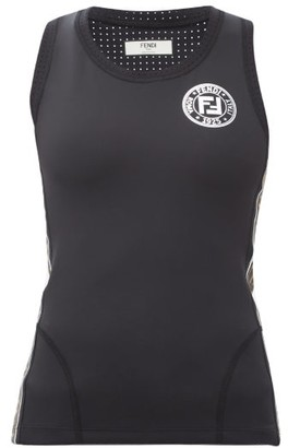 Fendi Ff Logo-trimmed Stretch-jersey Tank Top - Womens - Black