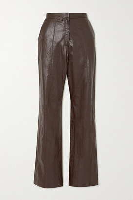 LVIR Faux Leather Straight-leg Pants - Brown