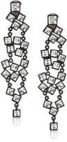 Kenneth Jay Lane Black and Square Cluster Drop Clip Drop Earring
